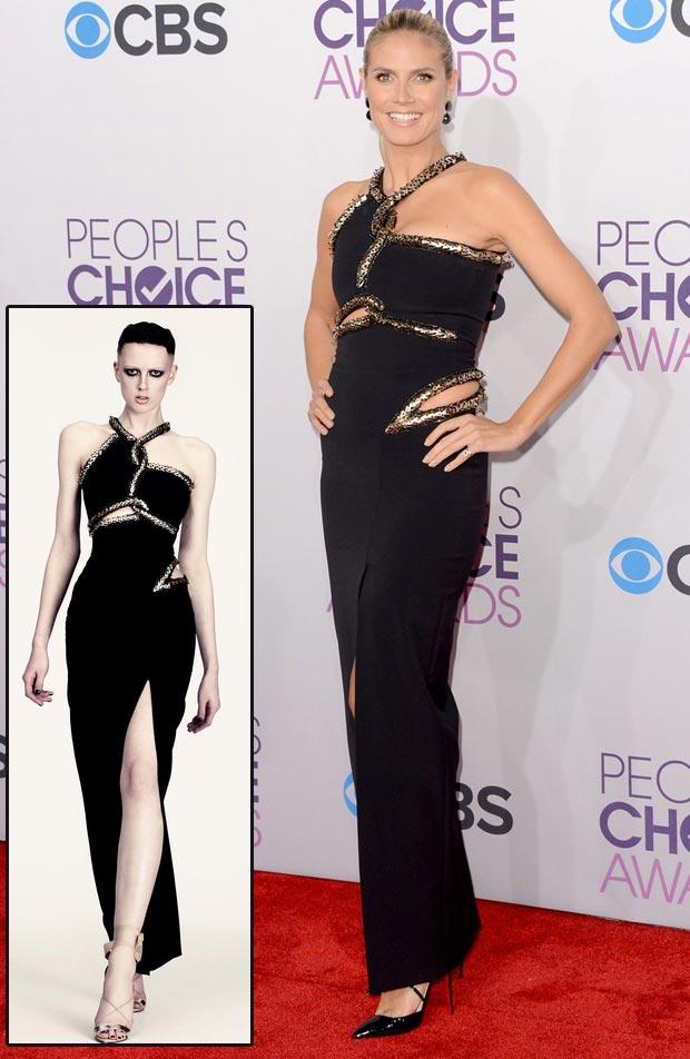 Heidi Klum Julien MacDonald black cutout dress People s Choice Awards 2013