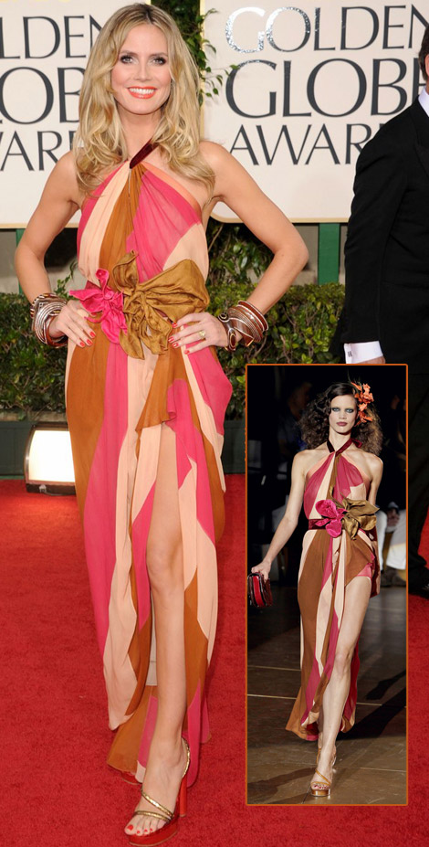 Heidi Klum Marc Jacobs dress Golden Globes 2011