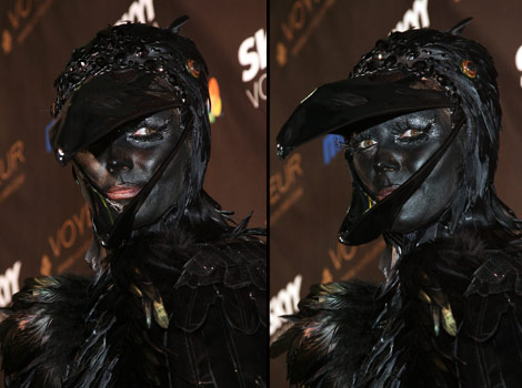 Heidi Klum In Raven Costume For Halloween Party 2009. Joins The Black Paint Trend