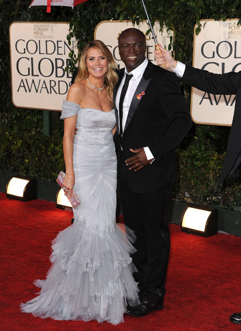 Heidi Klum Roberto Cavalli Dress Seal Golden Globes 2010