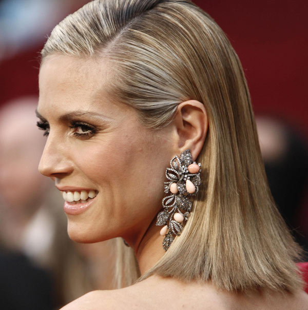 Heidi Klum Roland Moured dress 2009 Oscars earrings