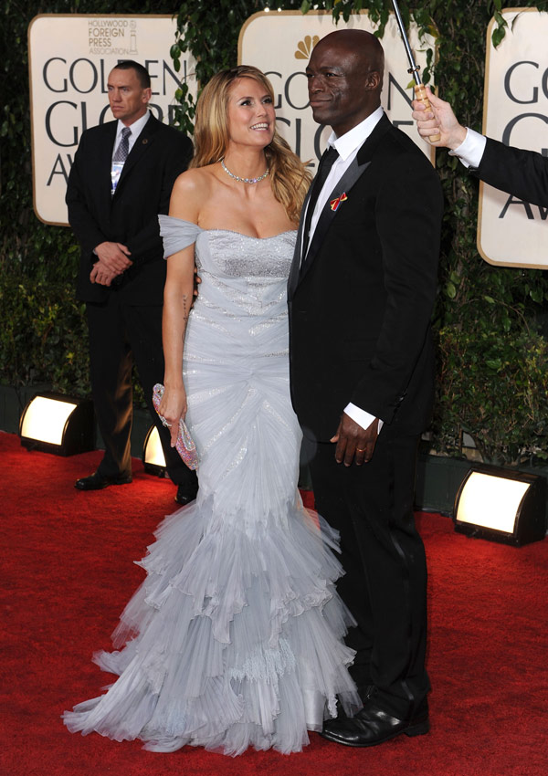 Heidi Klum's Roberto Cavalli White Dress For Golden Globes 2010