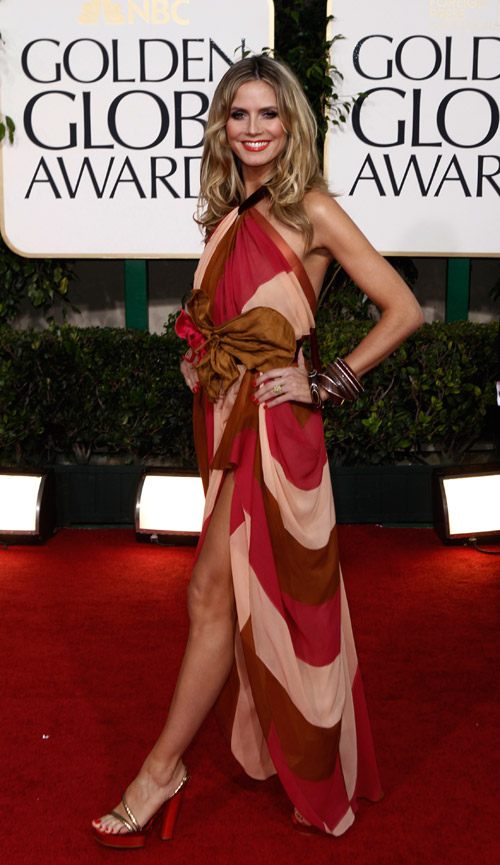 Heidi Klum In Marc Jacobs Colorful Dress For Golden Globes 2011
