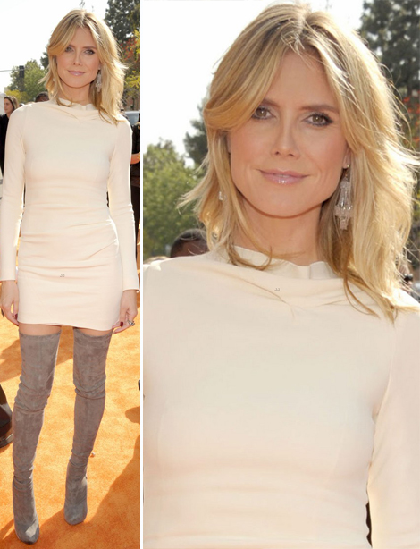Heidi Klum soft beige Roland Mouret dress Kids Choice Awards 2012