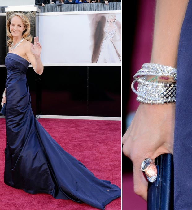 Helen Hunt HM dress jewelry 2013 Oscars