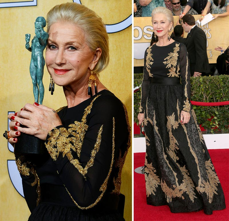 Helen Mirren black dress 2014 SAG Awards Red Carpet