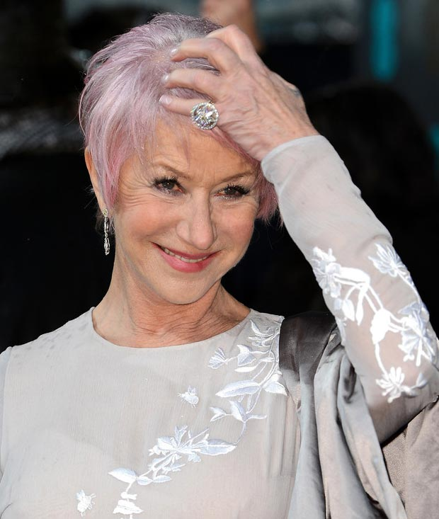 Helen Mirren new pink hairdo  2013 BAFTA Awards