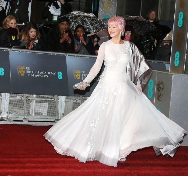 Helen Mirren Nicholas Oakwell dress 2013 BAFTA Awards