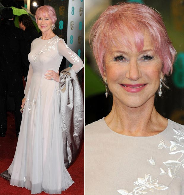 Helen Mirren pink hair 2013 BAFTA Awards