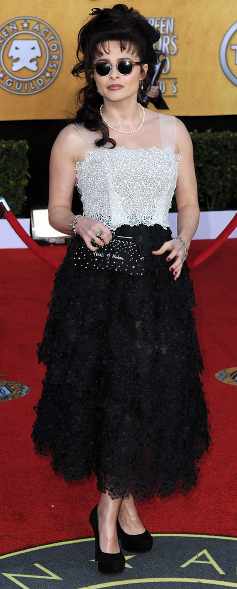 Helena Bonham Carter Marc Jacobs bw dress 2011 SAG Awards
