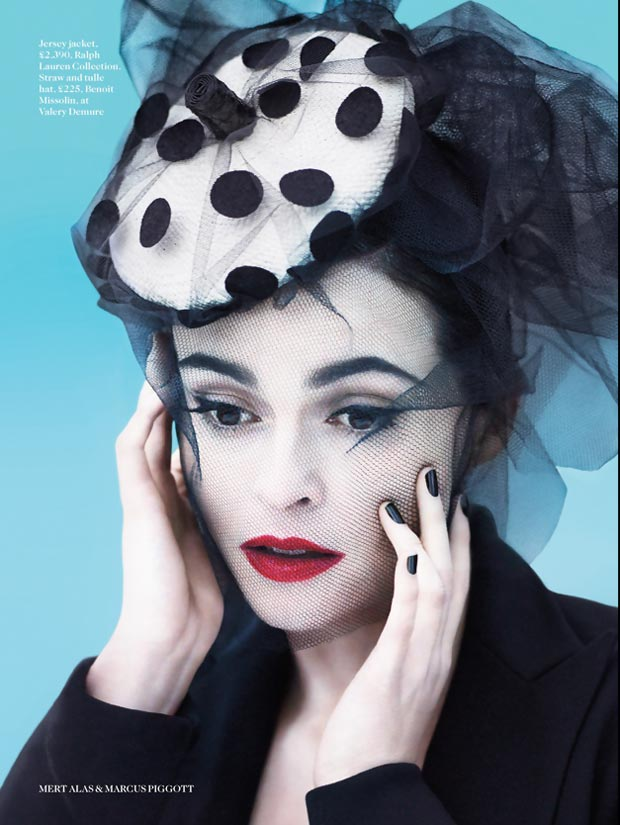 Helena Bonham Carter miniature hat Vogue UK July 2013