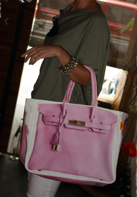 Hermes Birkin canvas pink shopping tote