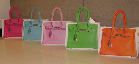Hermes Birkin canvas shopping totes