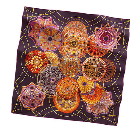 Hermes Les Domes Du Ciel Silk Scarf dark purple
