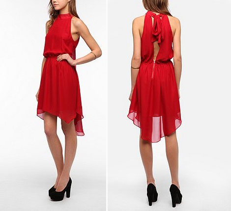 high neck party red dress