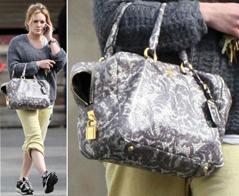 Hilary Duff Prada Lace Leather Bag