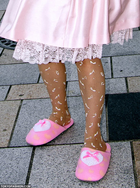 Hime Gyaru pink bow dress pink slippers