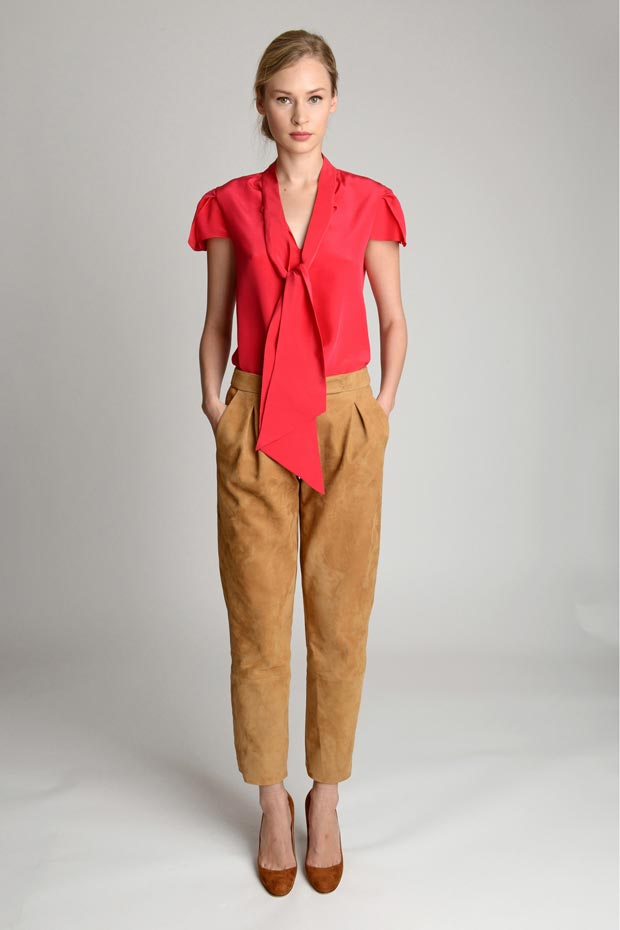 Holmes Yang Fall 2013 collection coral suede