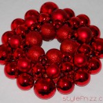 Home made Christmas wreath red baubles Stylefrizz