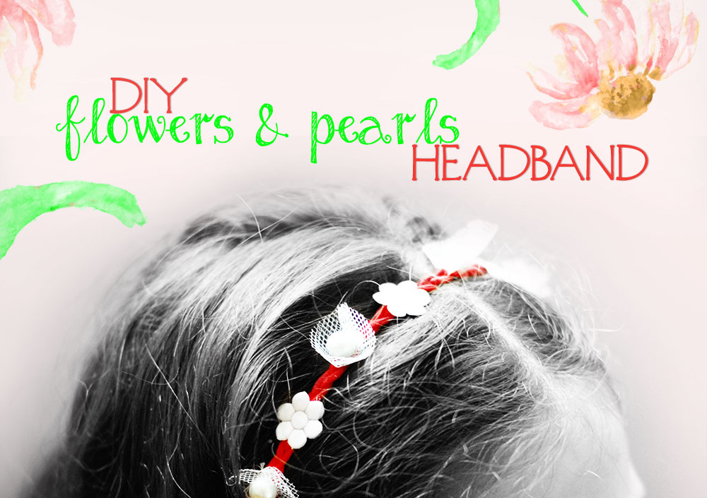 how to diy flowers pearls headband red white