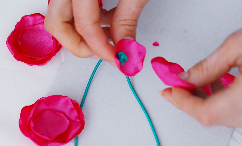 how to fabric flowers headband