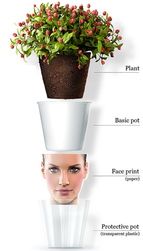 How to face print flower pot