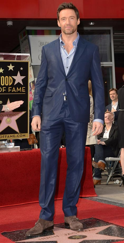 Hugh Jackman Hollywood Fame star blue suit