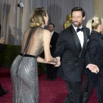 Hugh Jackman trying to escape Stacy Keibler 2013 Oscars