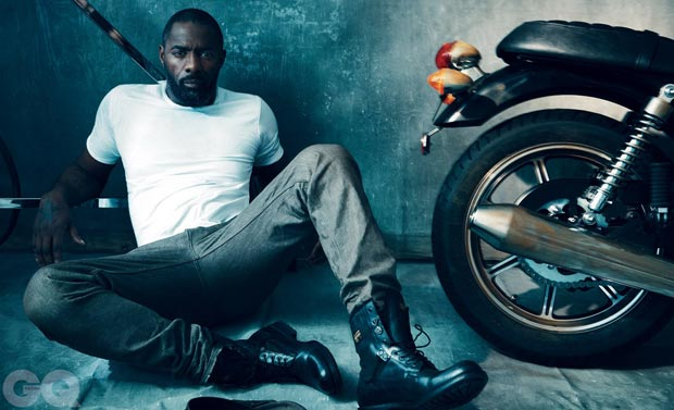 Idris Elba posing for GQ magazine