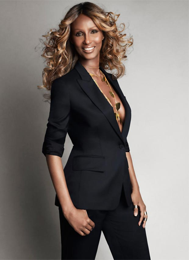 Iman black suit Stella McCartney