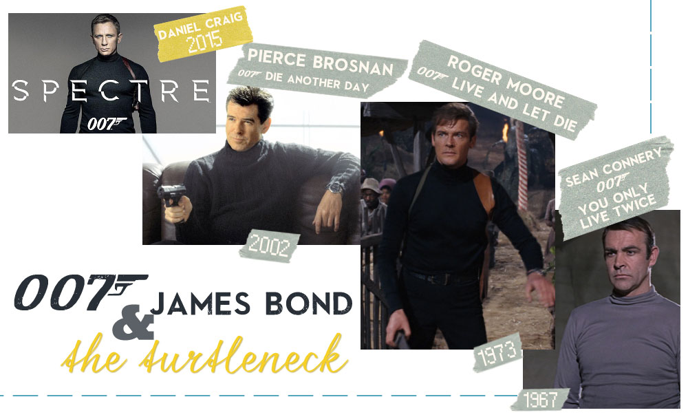 James Bond movies turtleneck throughout the years