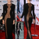 Jamie Alexander black see through Azzaro Couture black dress