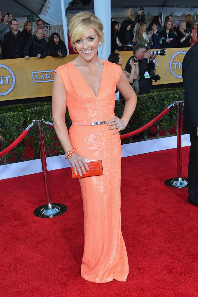 Jane Krakowski salmon dress 2013 SAG Awards