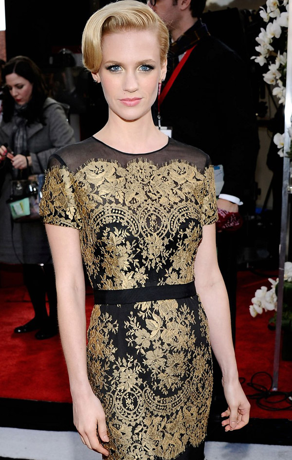 January Jones Carolina Herrera's Lace Dress For 2011 SAG Awards