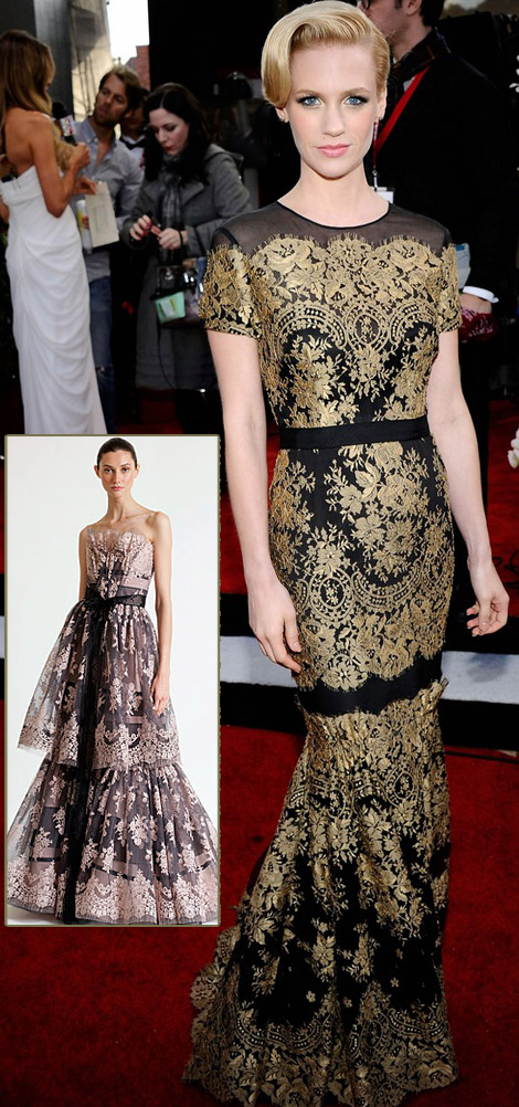 January Jones Carolina Herrera Lace Dress 2011 SAG Awards