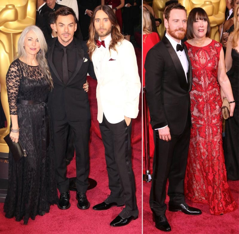 Jared Leto 2014 Oscars Michael Fassbender Red Carpet with their mothers
