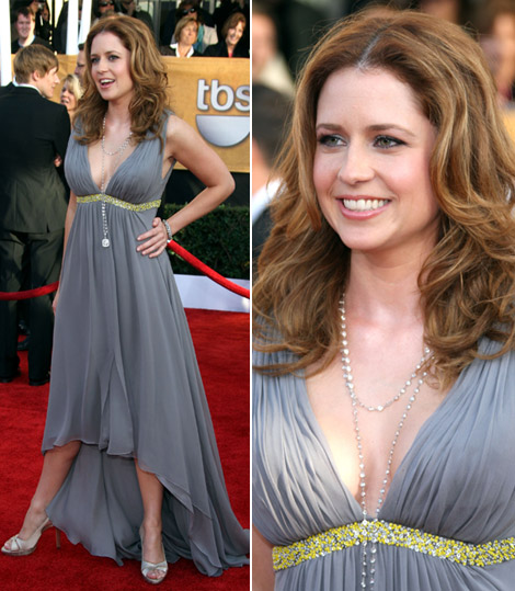 Jenna Fischer Pamella Roland gray dress SAG Awards 2009