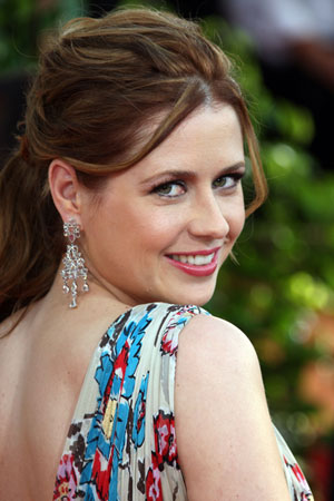 Jenna Fischer Zuhai Murad dress Golden Globes 2009 detail