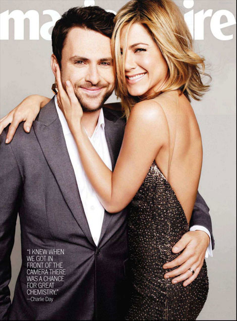 Jennifer Aniston Charlie Day Marie Claire July 2011 cover