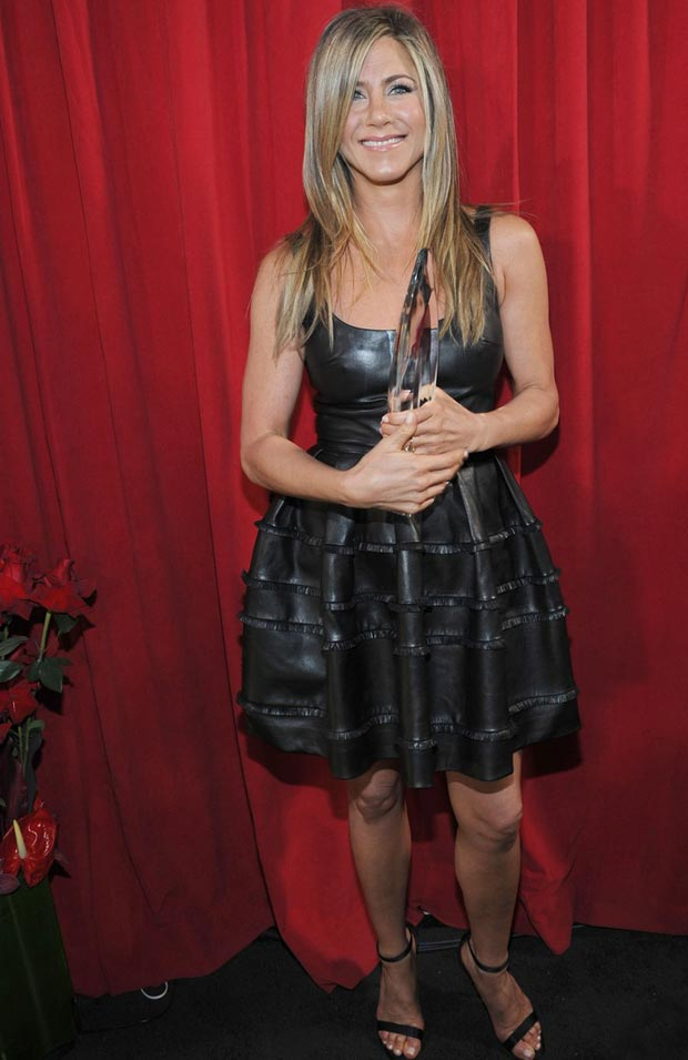 Jennifer Aniston Dior black leather dress People s Choice Awards 2013