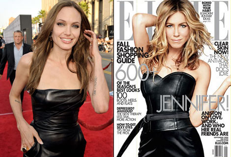 Jennifer Aniston Elle cover Angelina leather dress Basterds premiere