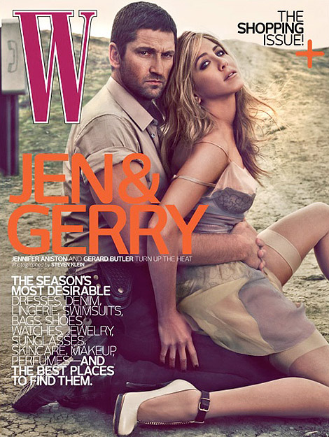 Jennifer Aniston Gerard Butler W Magazine April 2010 cover