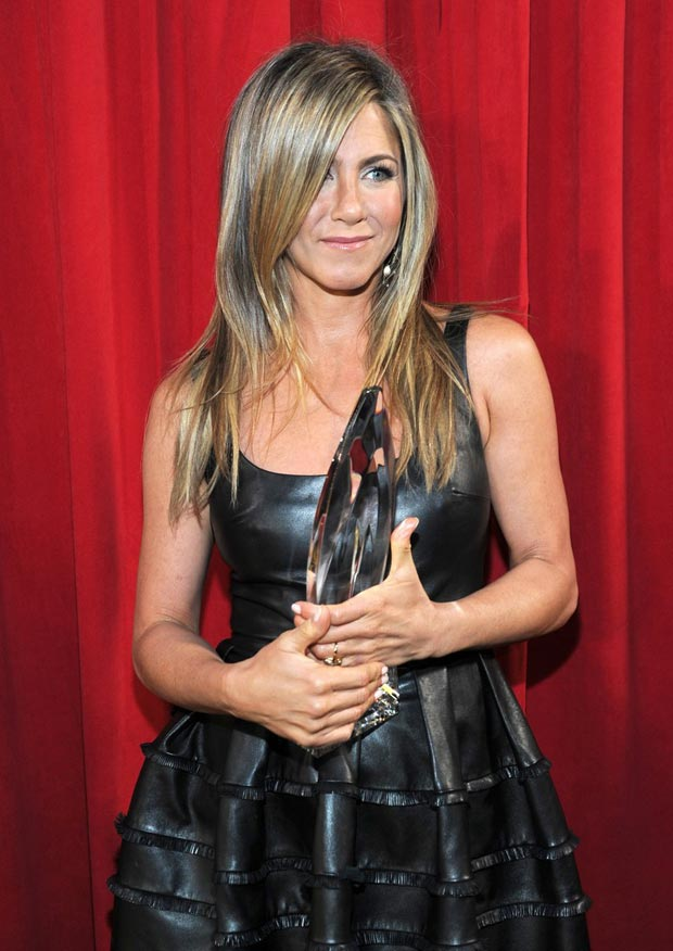 Jennifer Aniston's Dior Black Leather Dress People's Choice Awards 2013