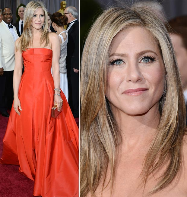Jennifer Aniston red dress makeup 2013 Oscars