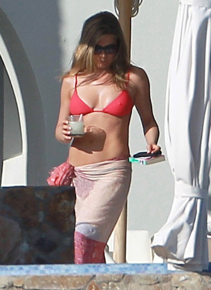 Jennifer Aniston red swimsuit Cabo