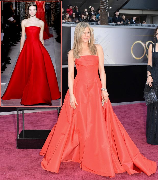 Jennifer Aniston Valentino red dress 2013 Oscars
