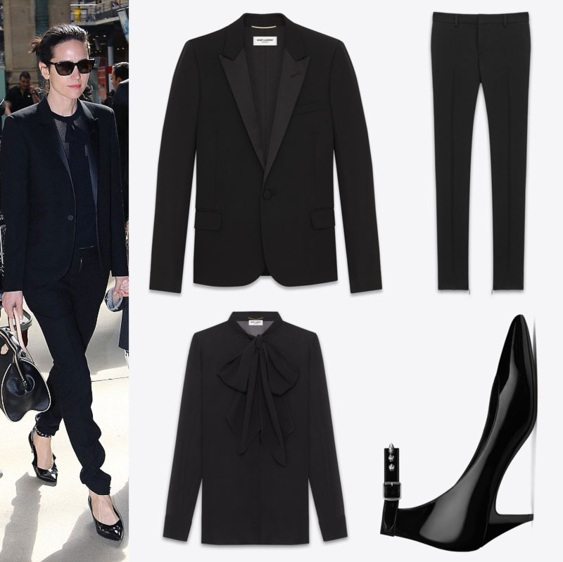 Jennifer Connelly black suit shoes Saint Laurent