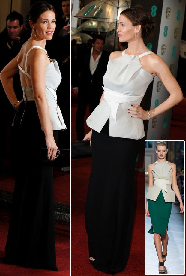 Jennifer Garner 2013 BAFTA Roland Mouret black white dress