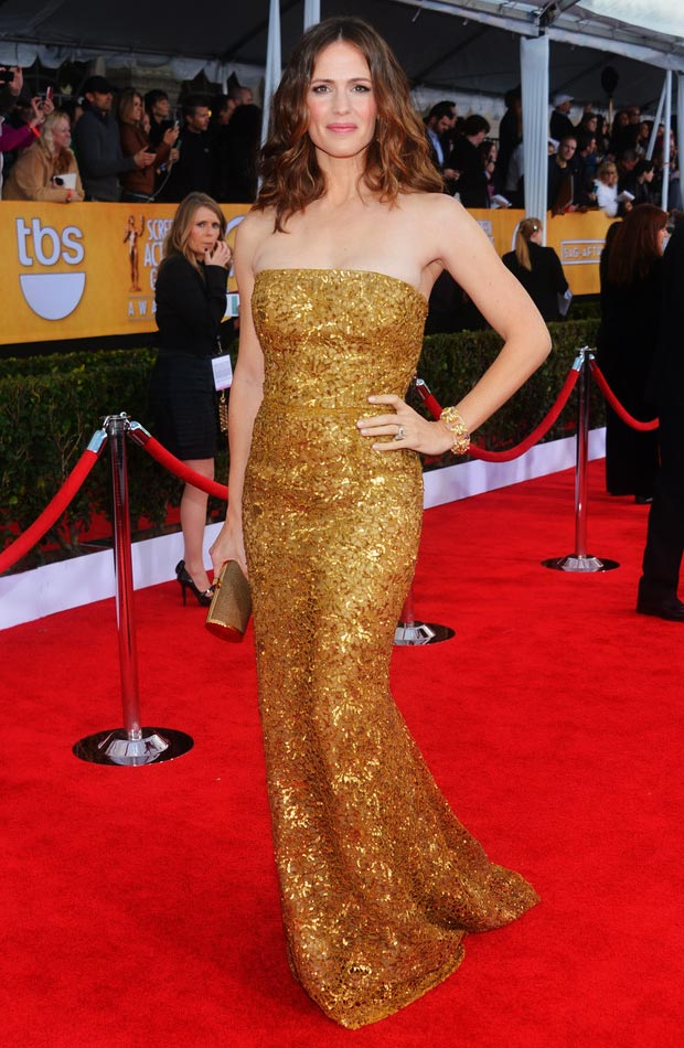 Jennifer Garner ODLRenta golden dress 2013 SAG Awards
