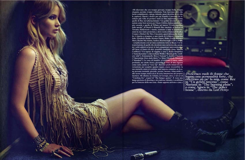 Jennifer Lawrence by Mark Selinger Vogue Italy December 2012
